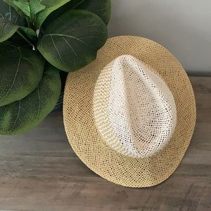 Two toned straw fedora hat